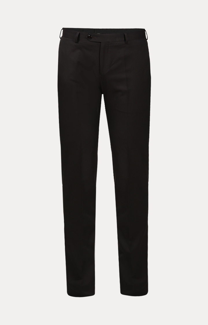 Raymond   Dark Brown Flat Front Formal Trousers