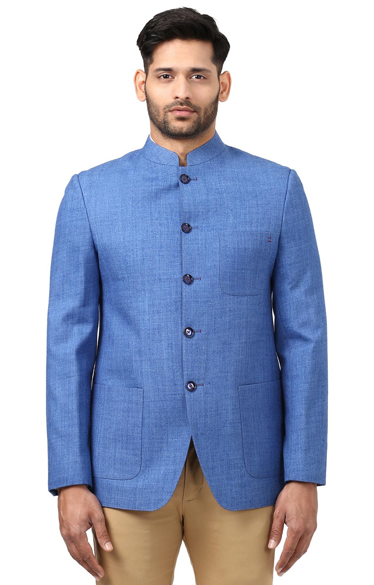 Raymond | Blue Melange Ethnic Jacket