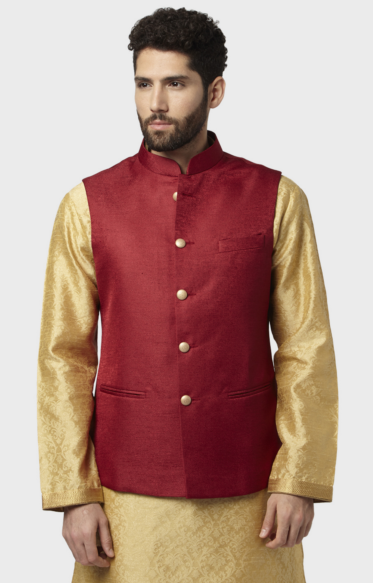 Raymond | Red Solid Ethnic Bundi Jacket