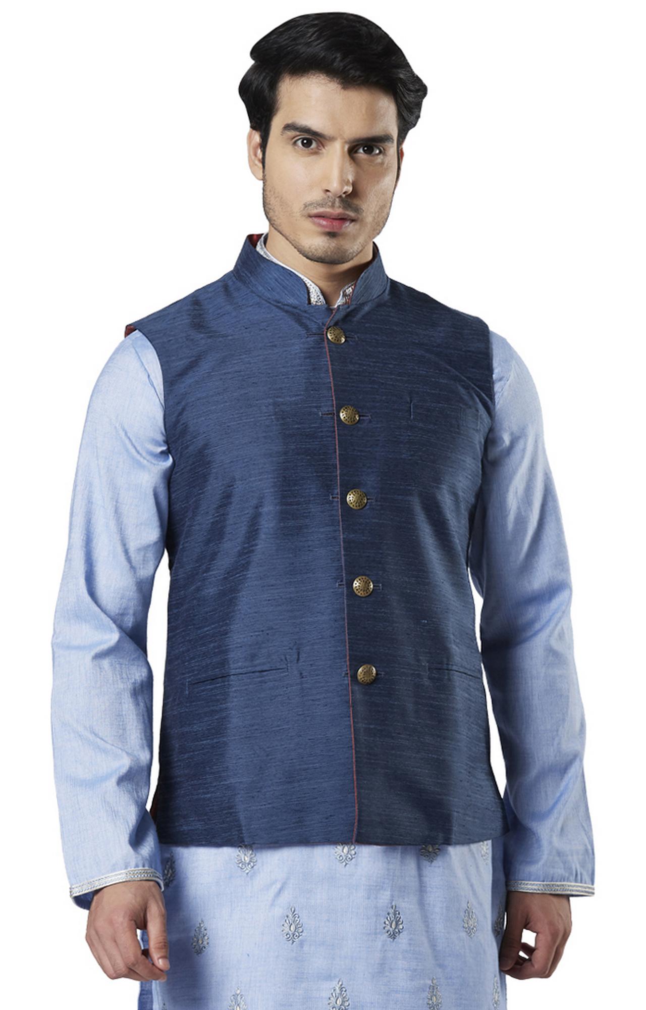 Raymond | Blue Melange Ethnic Bundi Jacket