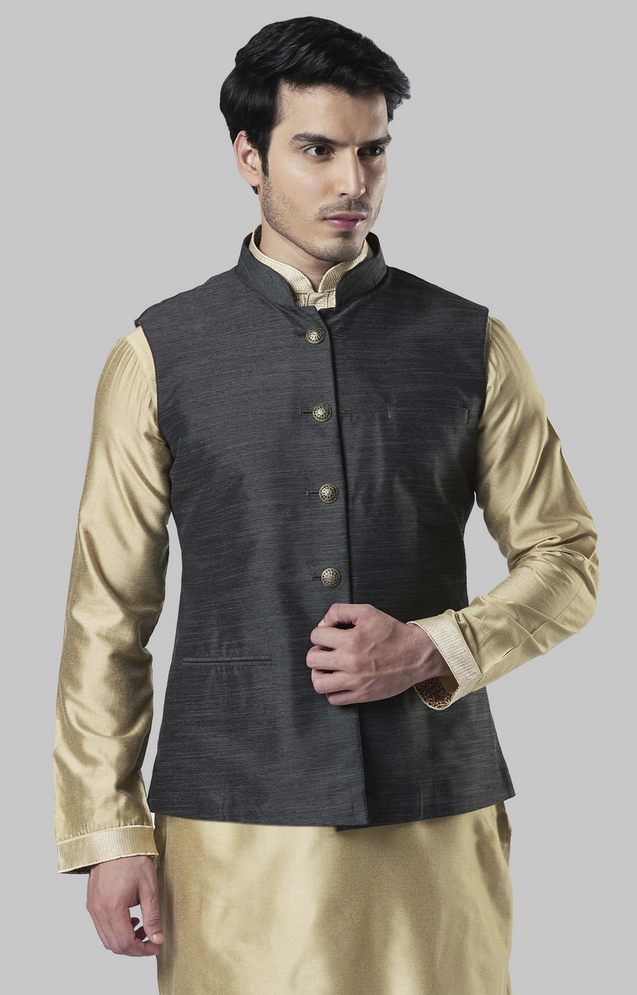 Raymond | Teal Melange Ethnic Bundi Jacket