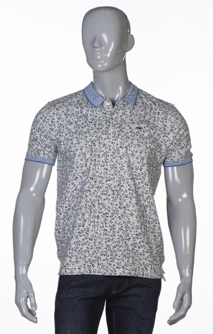 Park Avenue   Dark Blue Printed Polo T-Shirt