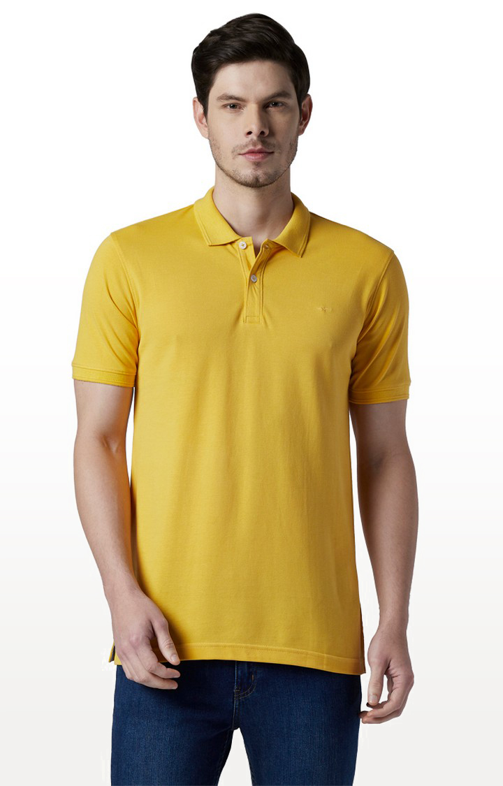 Park Avenue | Yellow Solid Polo T-Shirt