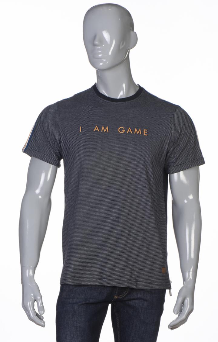 Park Avenue   Dark Blue Printed T-Shirt