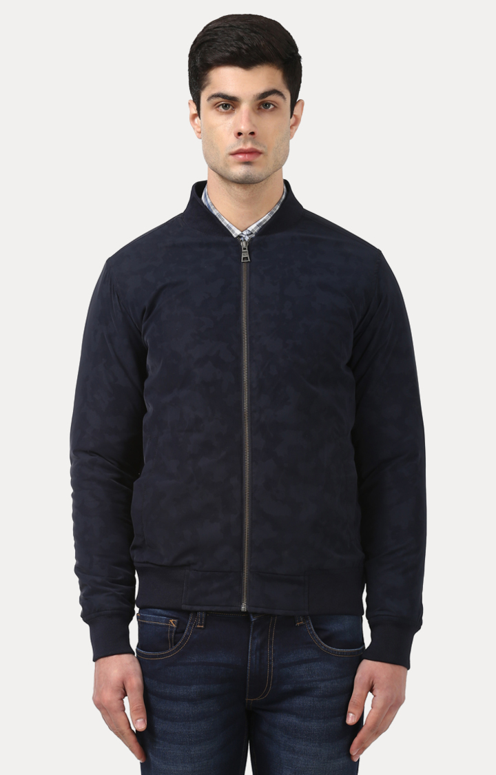Park Avenue   Dark Blue Printed Bomber Jacket