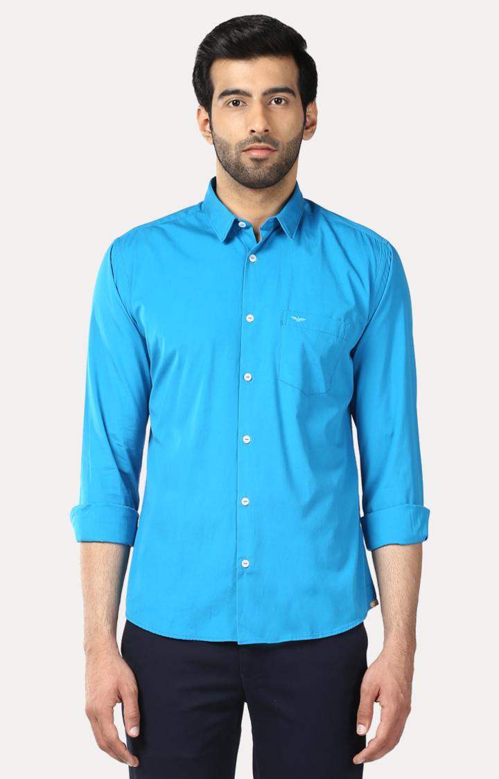 Park Avenue   Blue Solid Casual Shirt