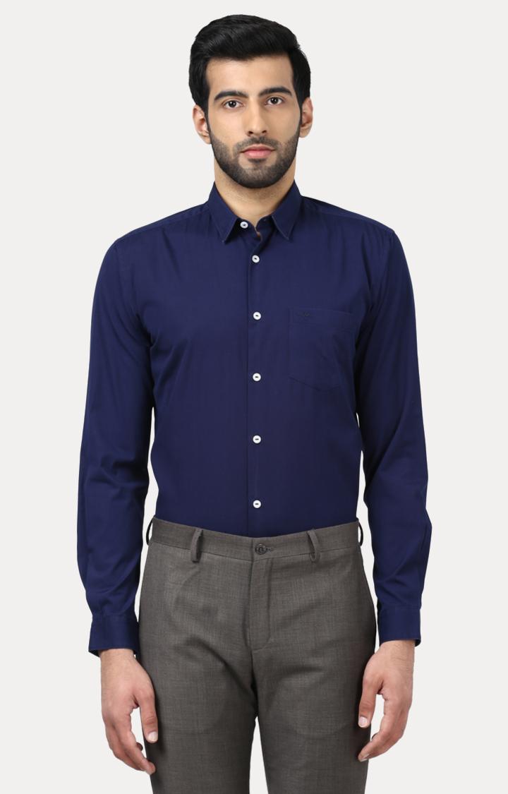 Park Avenue   Blue Solid Formal Shirt