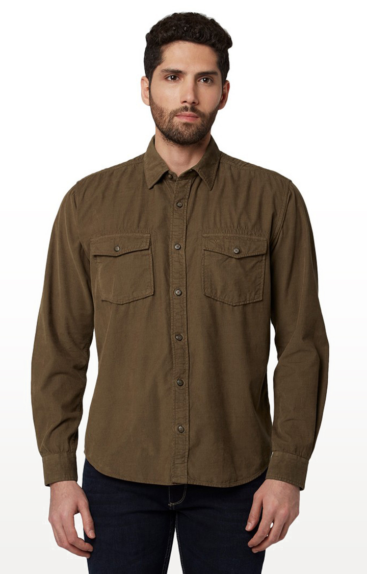 Park Avenue   Brown Solid Casual Shirt
