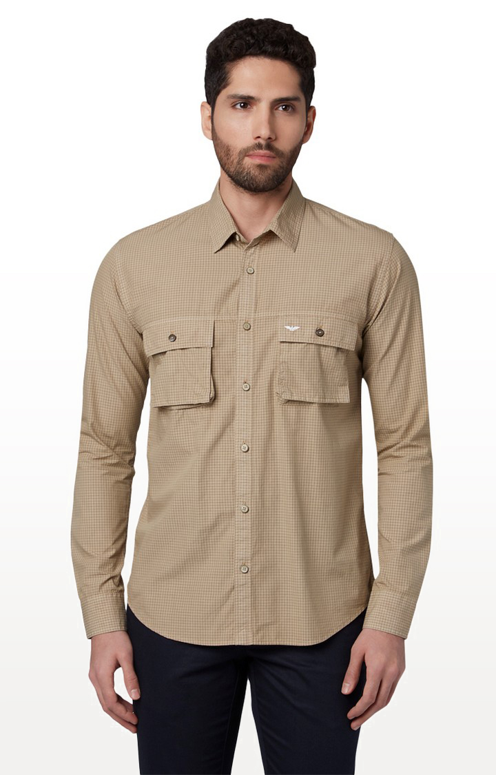 Park Avenue   Light Brown Checked Casual Shirt