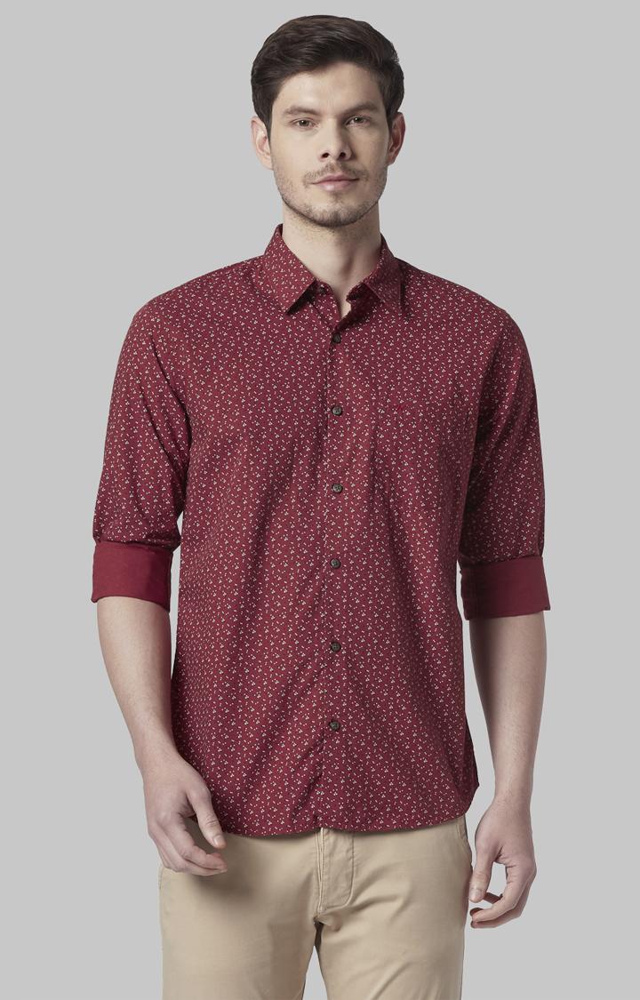 Park Avenue | Maroon Printed Formal Shirt
