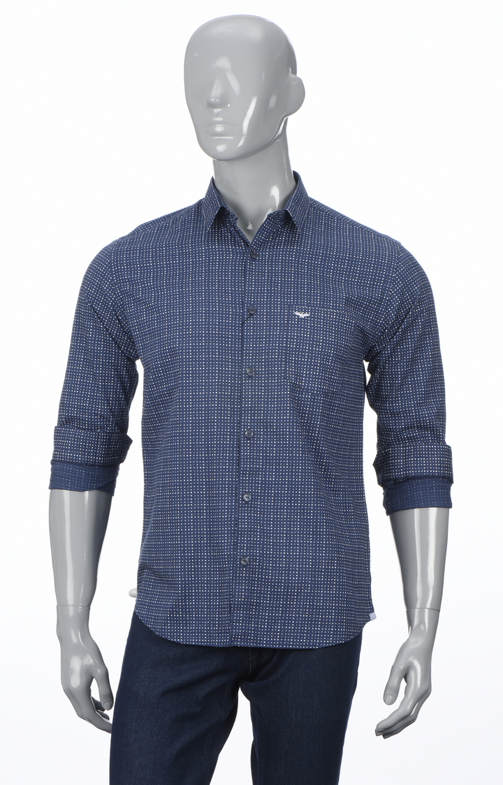 Park Avenue   Dark Blue Checked Casual Shirt