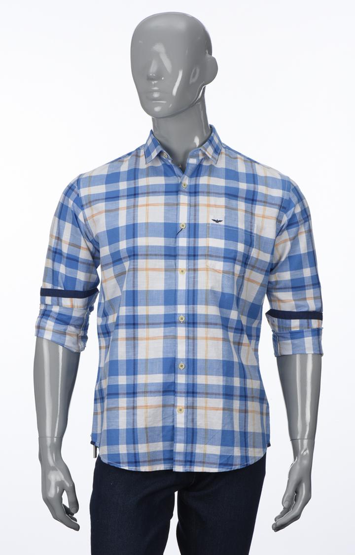 Park Avenue   Medium Blue Checked Casual Shirt