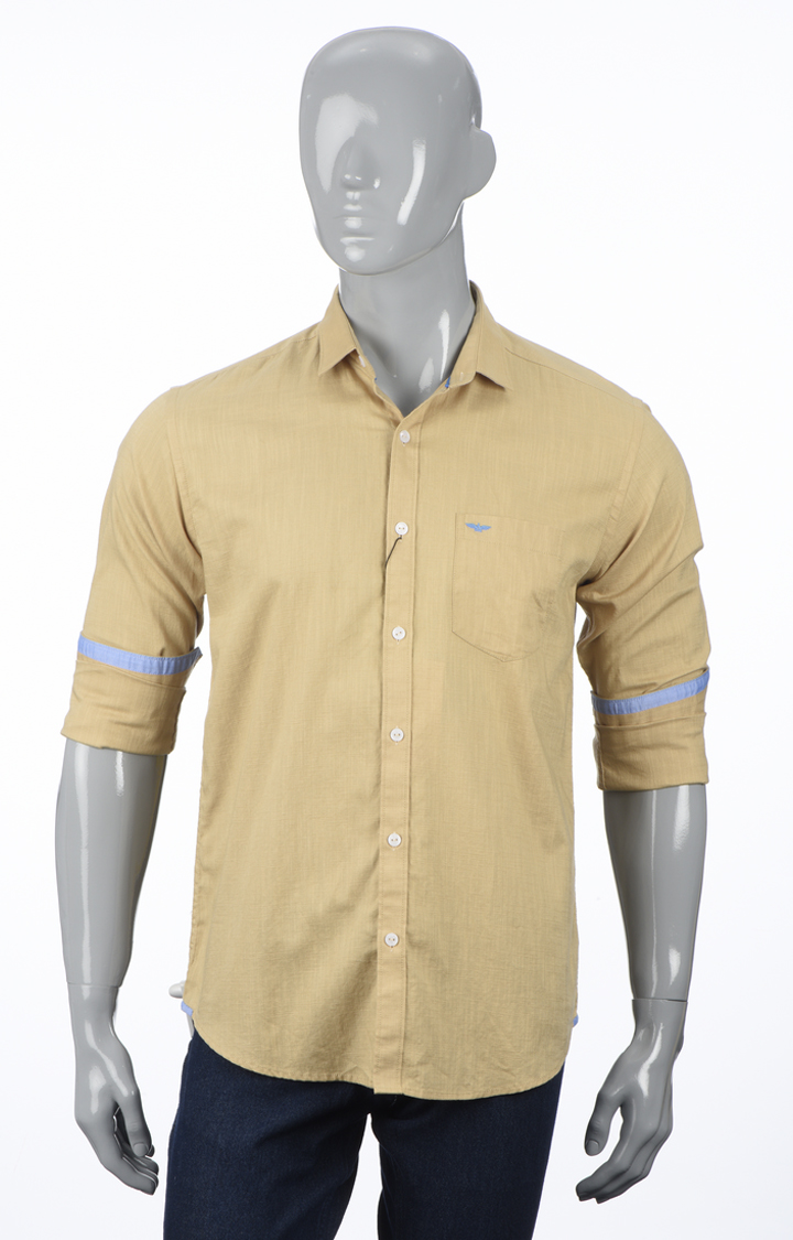 Park Avenue   Light Fawn Solid Casual Shirt