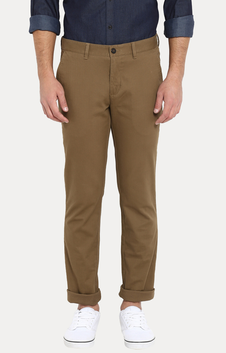 Park Avenue | Brown Solid Tapered Chinos