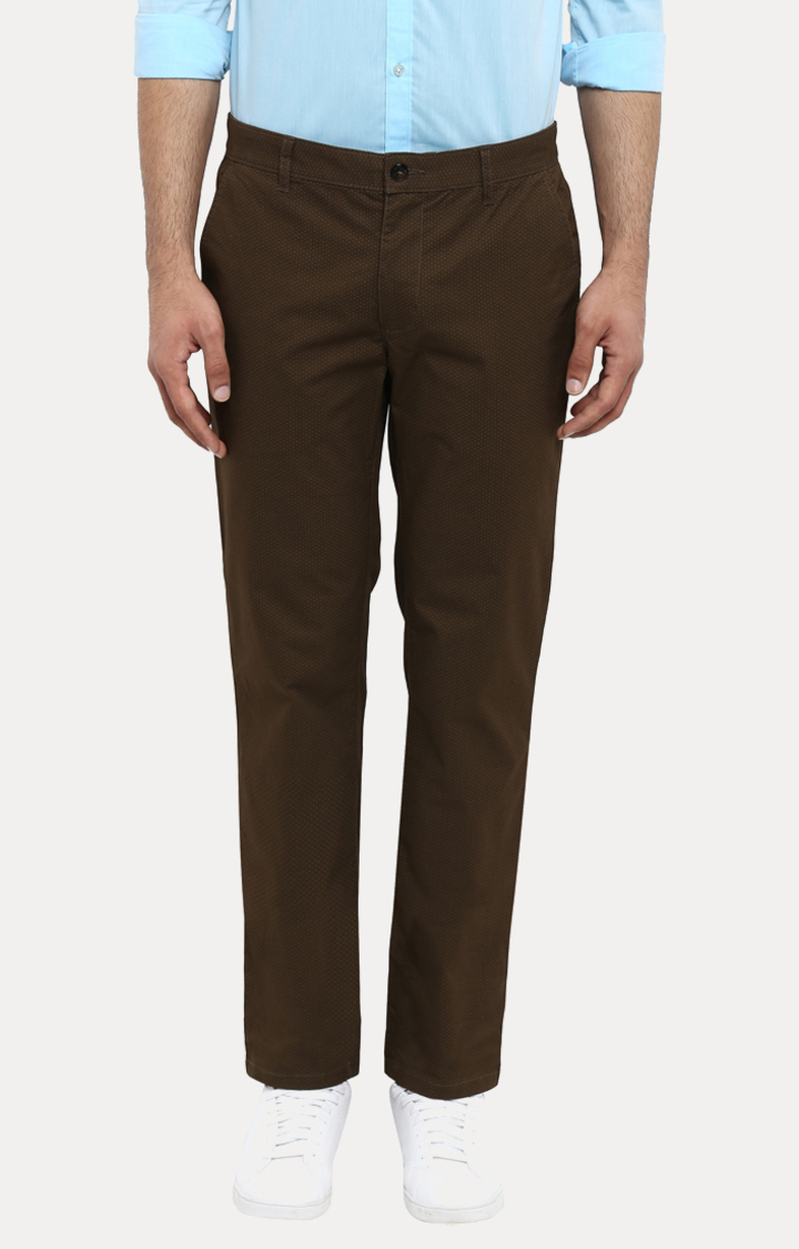 Park Avenue   Brown Printed Tapered Chinos