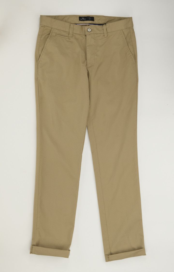 Park Avenue   Khaki Solid Tapered Chinos