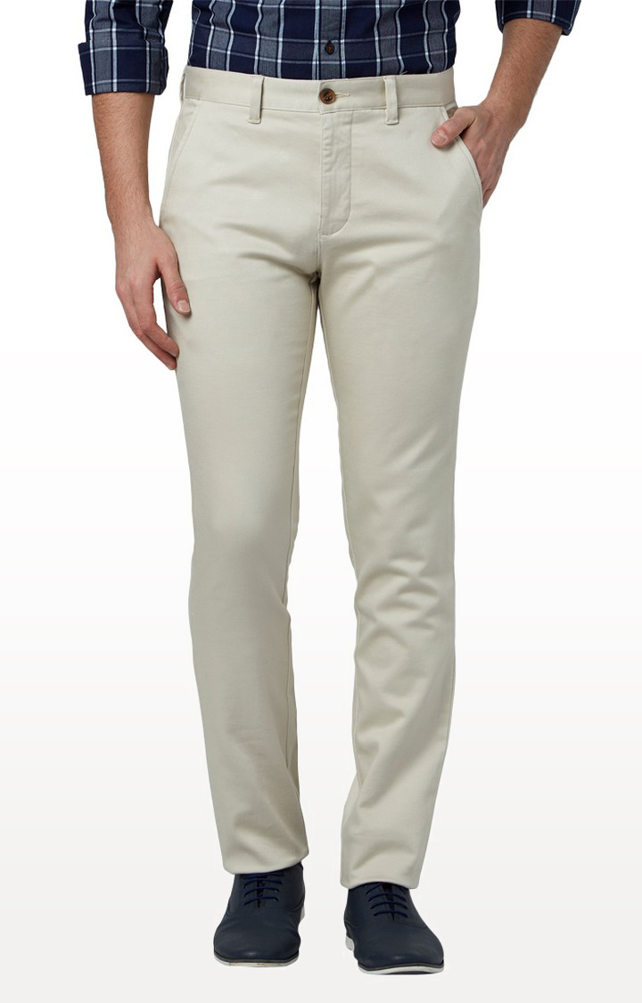 Park Avenue | Cream Flat Front Formal Trousers