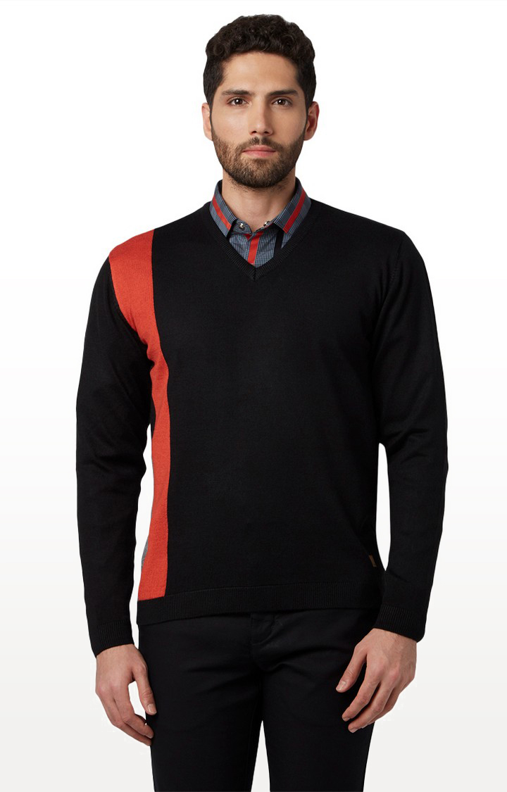 Park Avenue   Black Solid Sweater