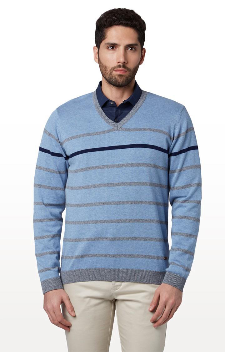 Park Avenue   Blue Striped Sweater