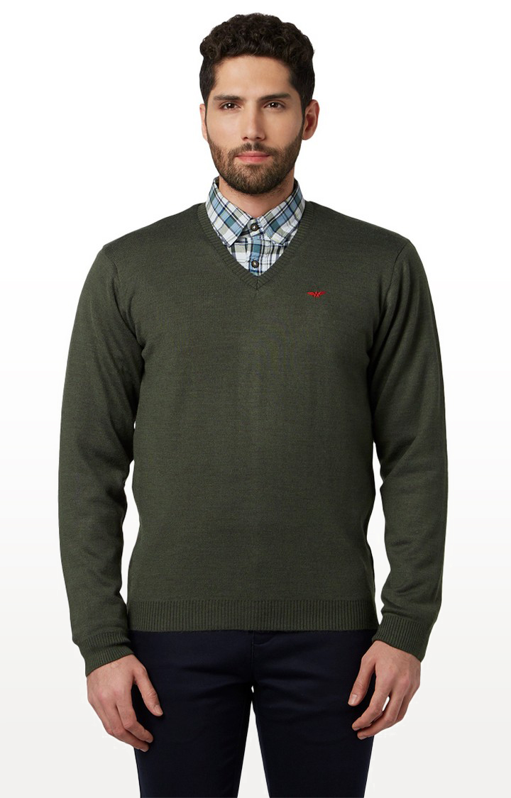 Park Avenue | Green Solid Sweater