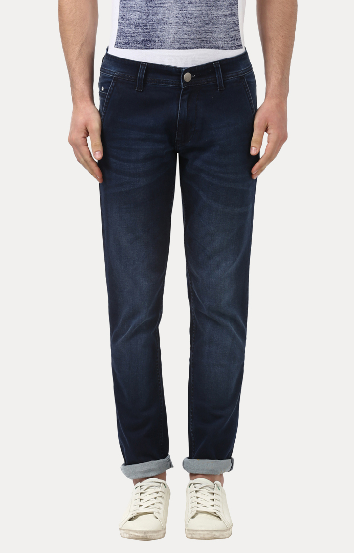 Park Avenue   Navy Solid Straight Jeans