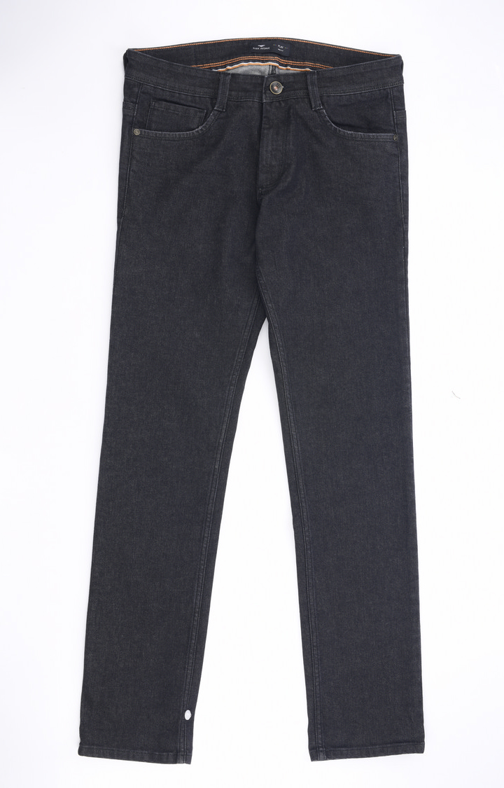 Park Avenue | Black Solid Tapered Jeans