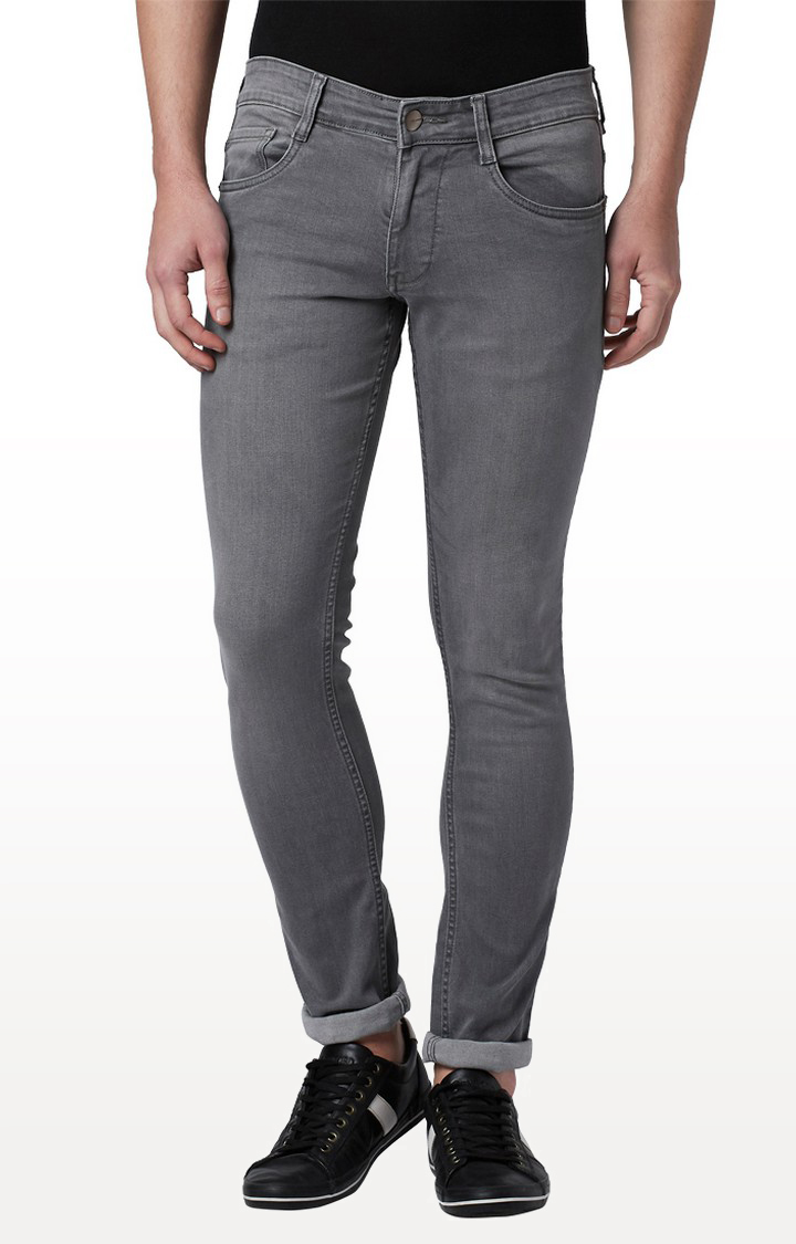 Park Avenue | Dark Grey Solid Tapered Jeans