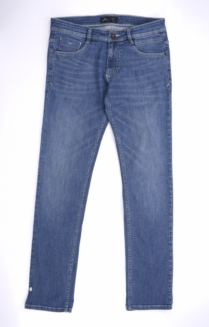 Park Avenue | Blue Solid Tapered Jeans