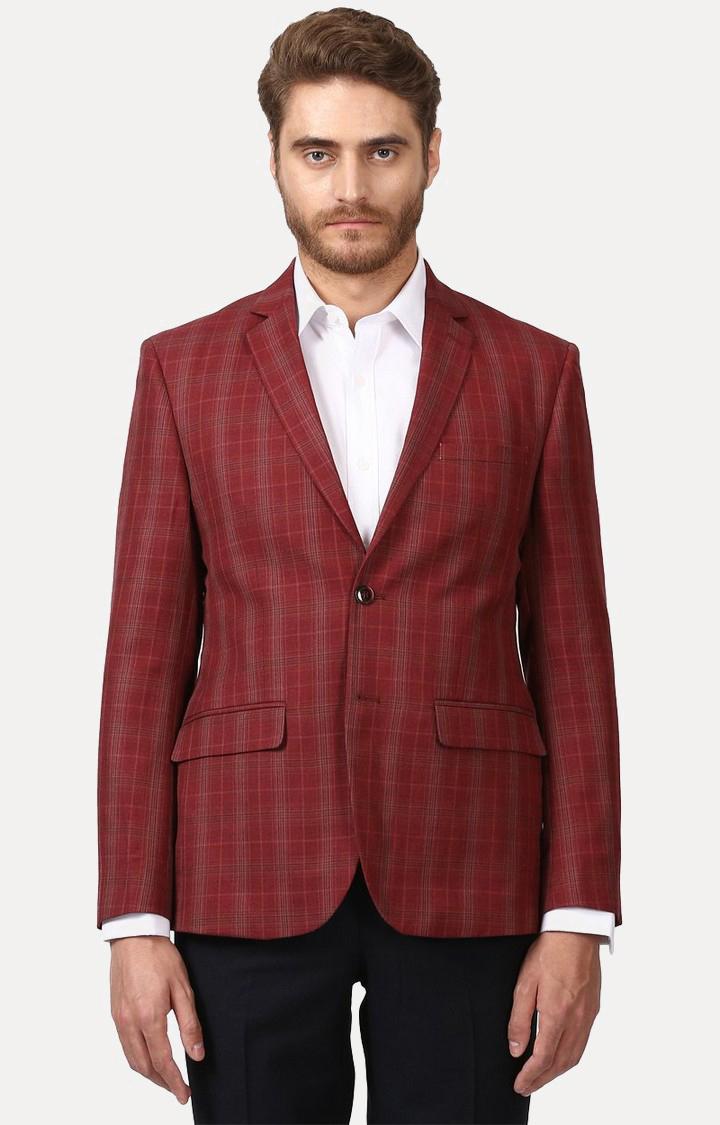 Park Avenue   Dark Red Checked Blazer