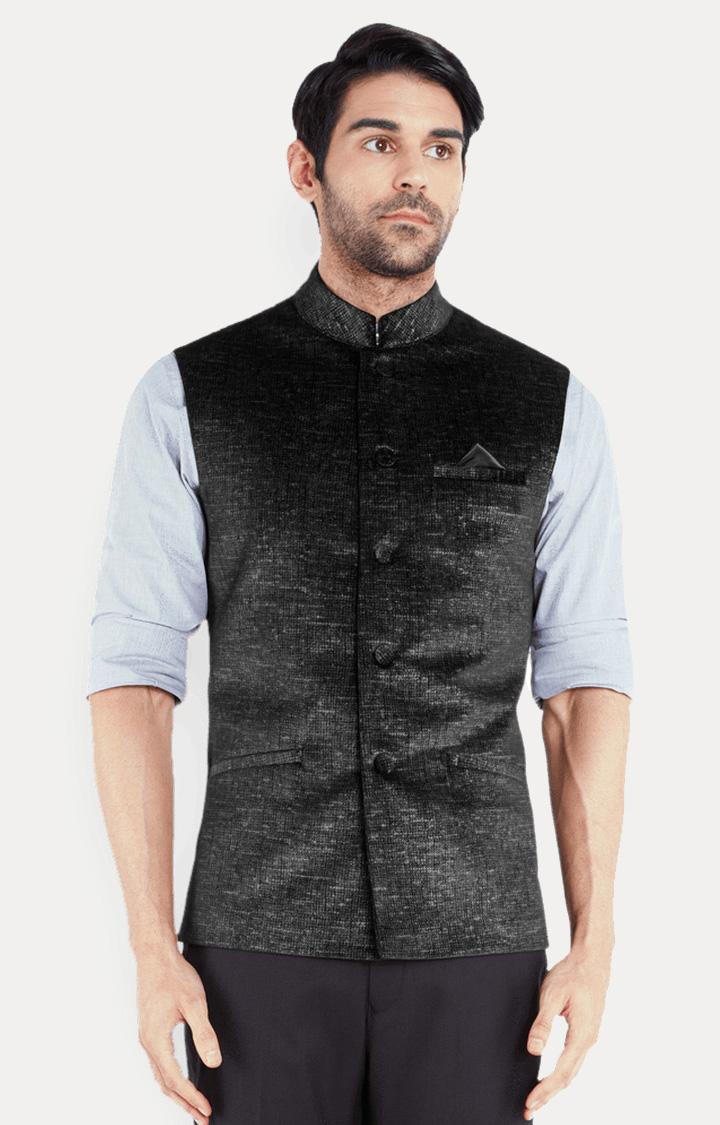 Park Avenue | Black Solid Ethnic Jacket