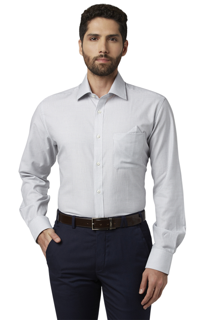 Park Avenue | White Printed Luxus Fit Formal Shirt