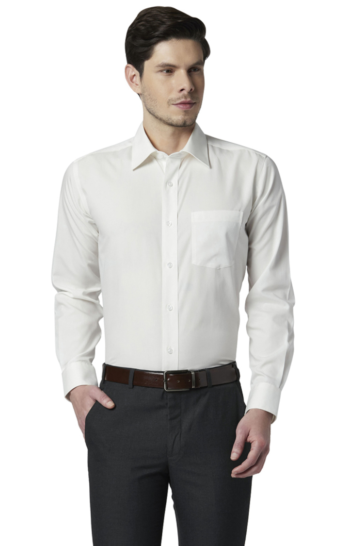 Park Avenue | White Solid Smart Fit Formal Shirt