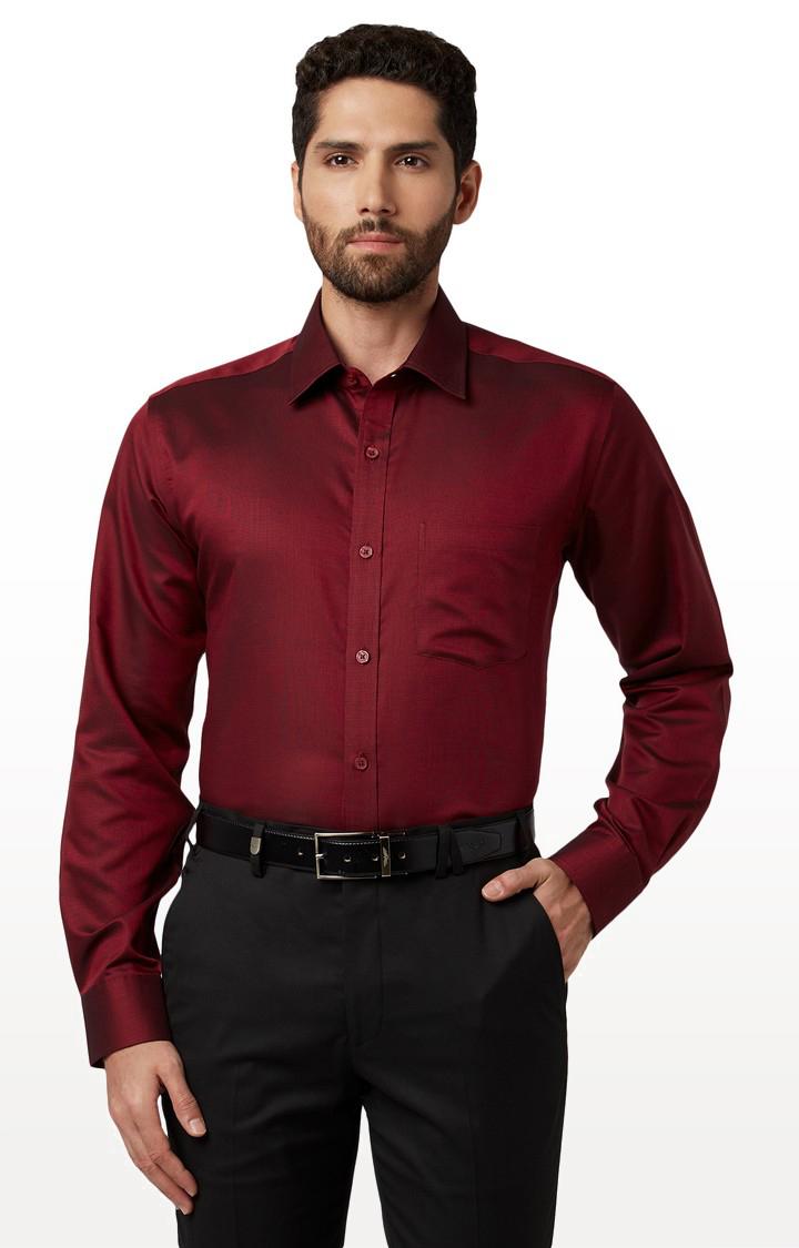 Park Avenue | Maroon Solid Formal Shirt