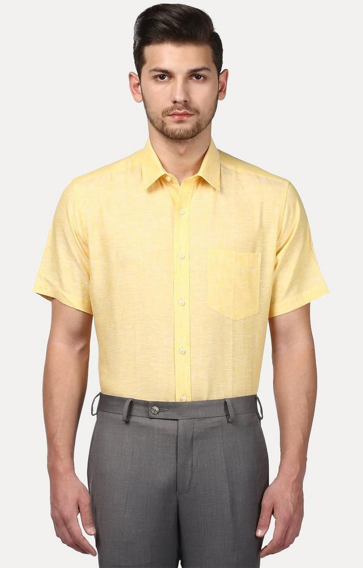 Park Avenue   Yellow Melange Formal Shirt