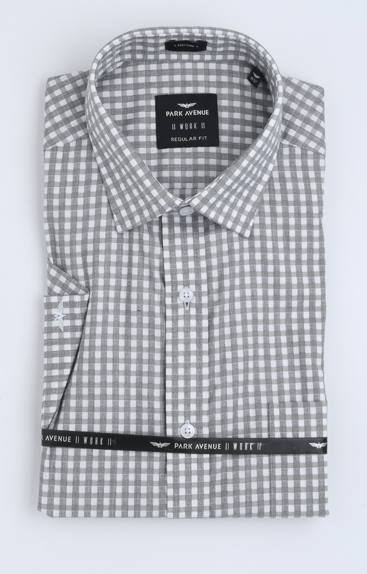 Park Avenue | Grey Checked Formal Shirt