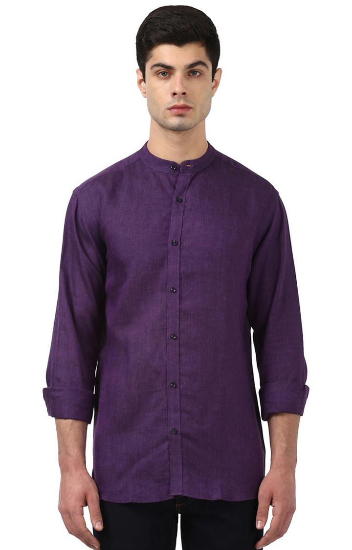 Park Avenue   Purple Melange Casual Shirt