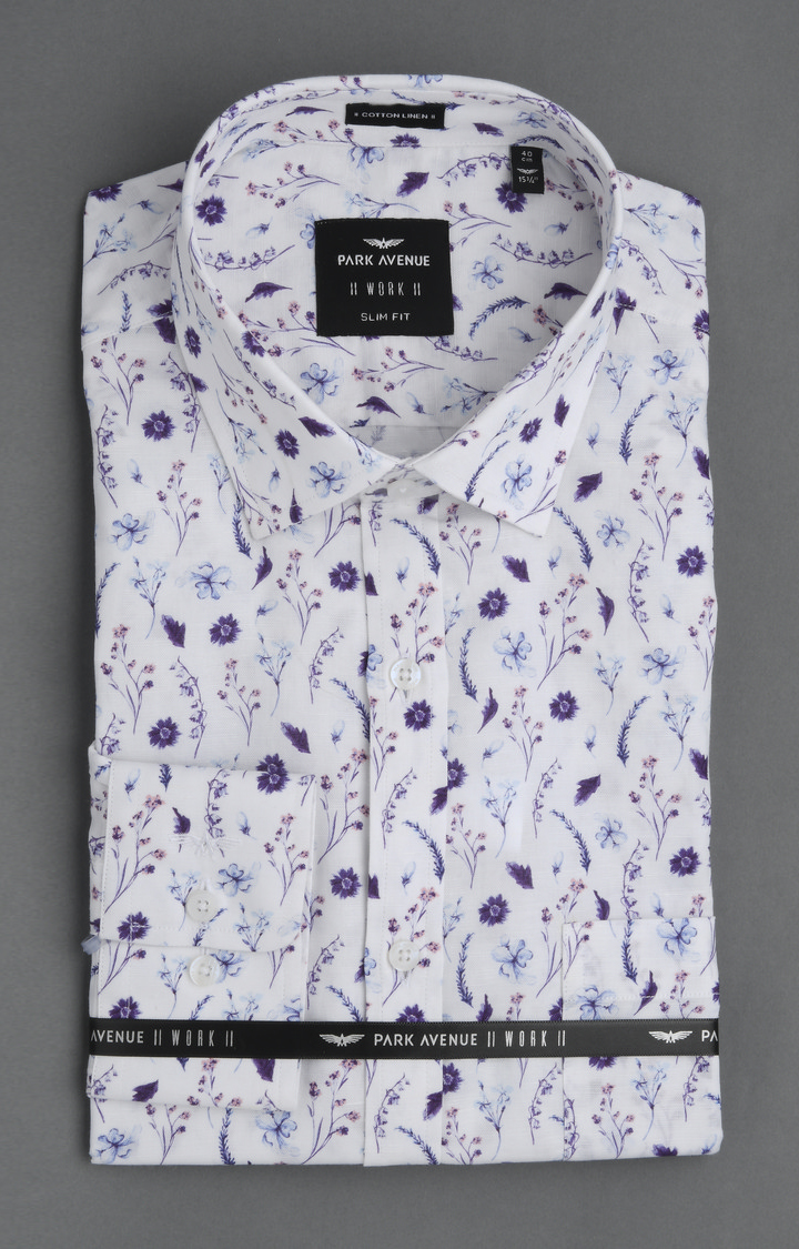 Park Avenue | White and Blue Floral Formal Shirt