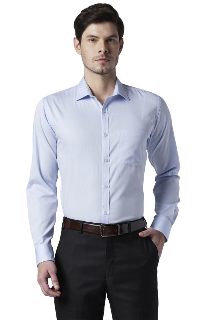 Park Avenue | Blue Solid Slim Fit Formal Shirt
