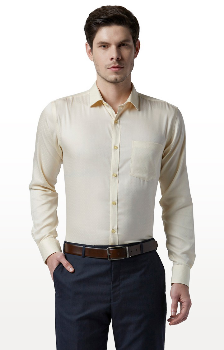 Park Avenue   Yellow Solid Formal Shirt