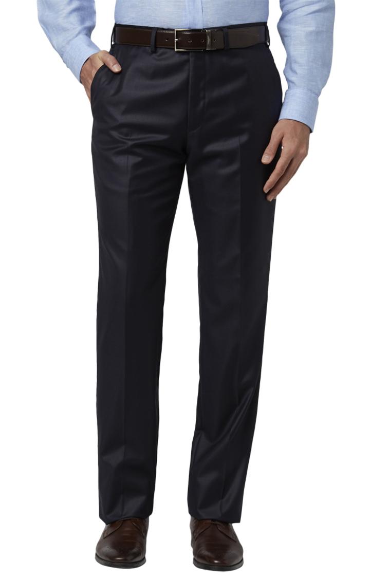 Park Avenue   Blue Flat Front Luxus Fit Formal Trousers