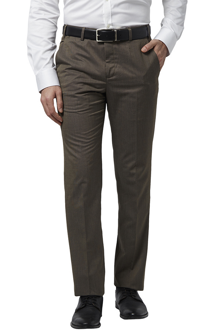 Park Avenue | Dark Brown Checked Flat Front Formal Trousers