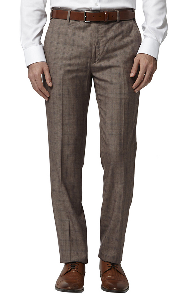 Park Avenue | Brown Checked Flat Front Formal Trousers