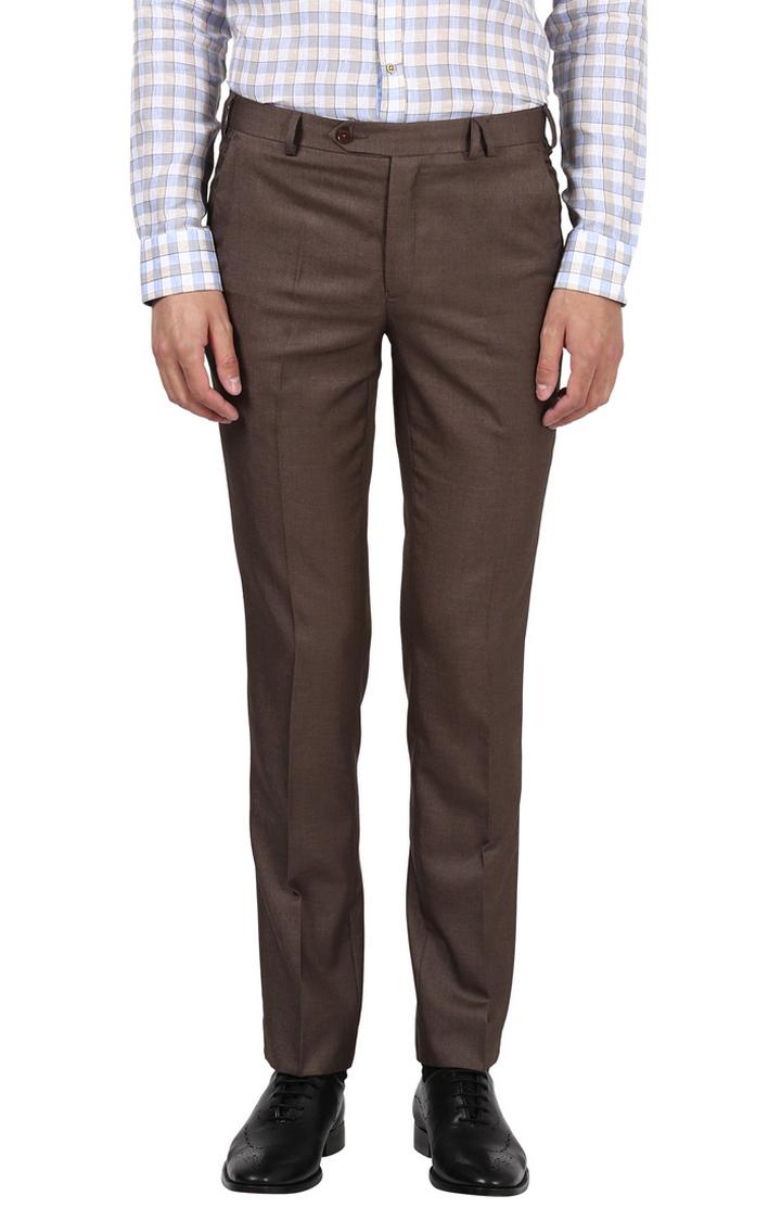 Park Avenue | Brown Melange Flat Front Formal Trousers