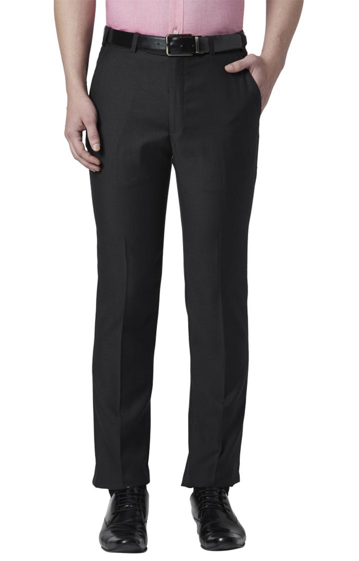 Park Avenue | Black Flat Front Super Slim Fit Formal Trousers