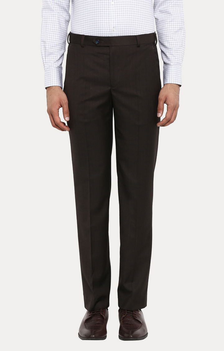 Park Avenue | Brown Solid Flat Front Formal Trousers