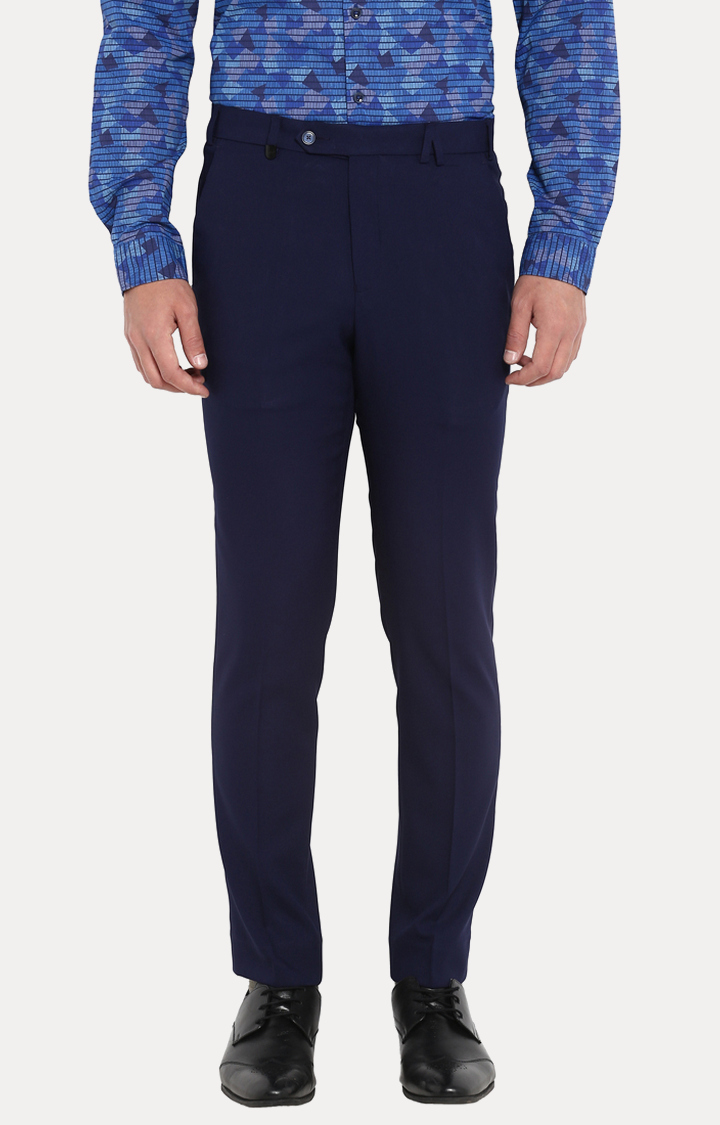 Park Avenue   Blue Solid Flat Front Formal Trousers