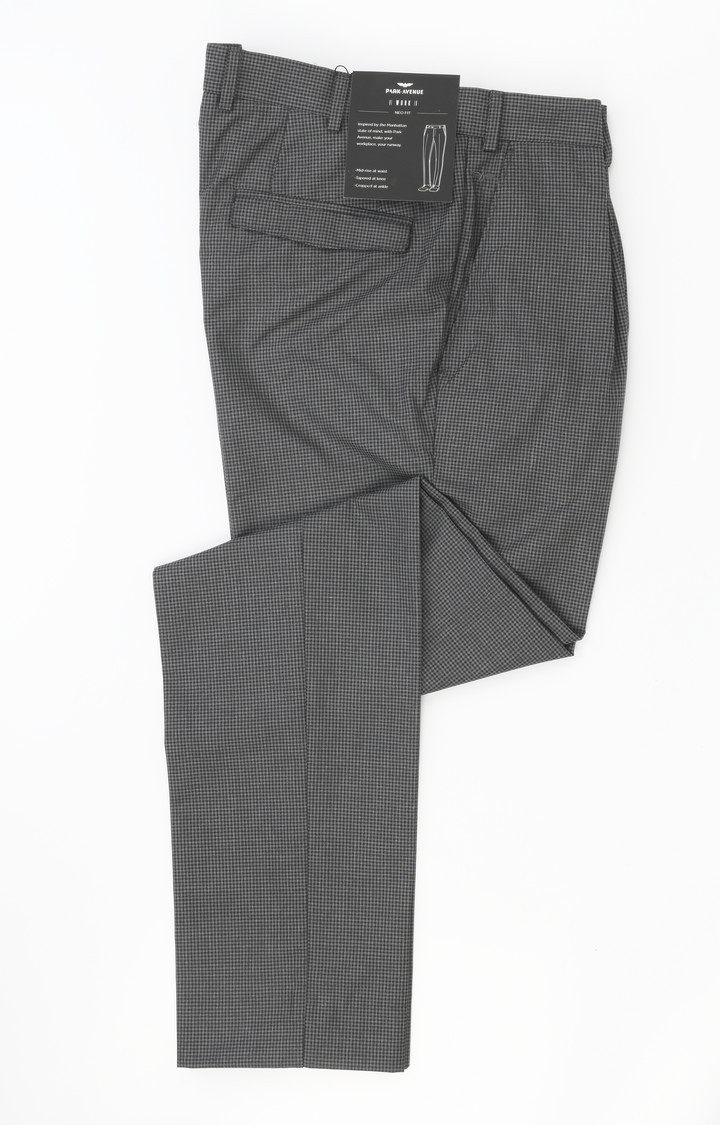 Park Avenue   Grey Checked Flat Front Formal Trousers