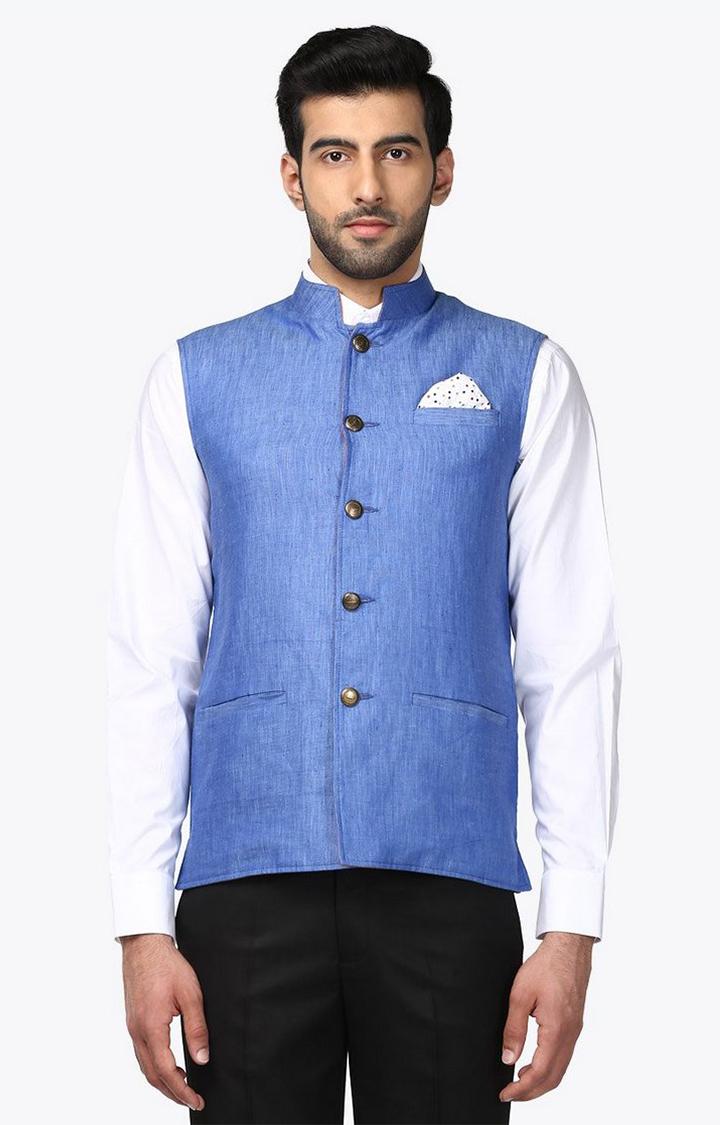 Park Avenue | Blue Melange Reversible Ethnic Jacket