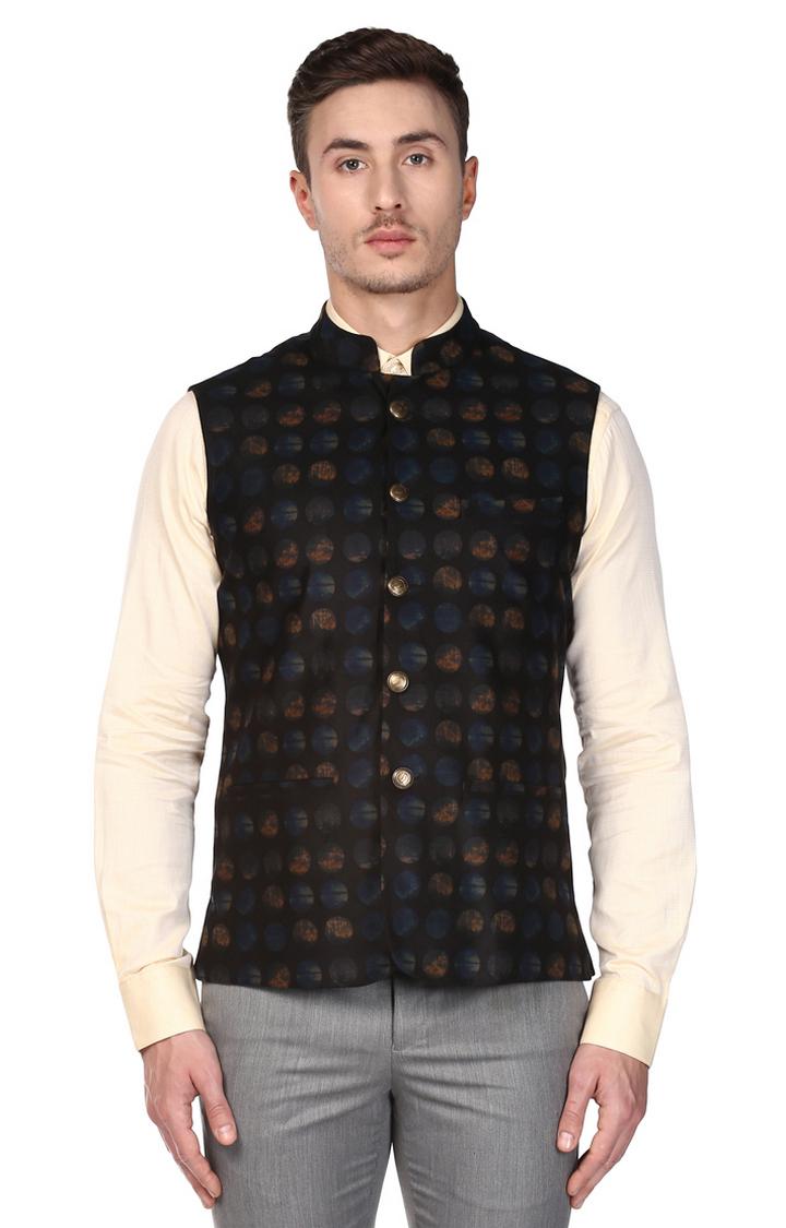 Park Avenue | Black Printed Ethnic Jacket
