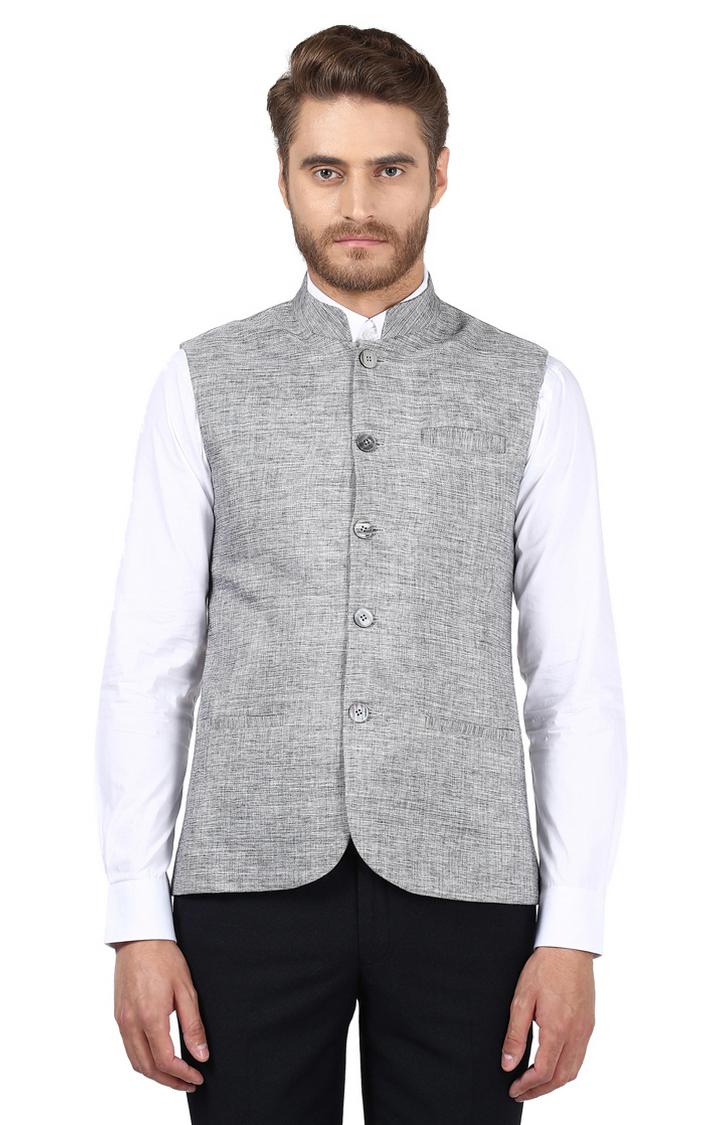 Park Avenue   Grey Melange Ethnic Jacket